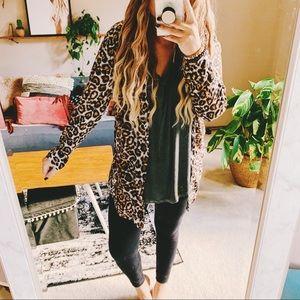 Leopard print oversized button down shirt